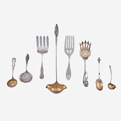 Lot 181 - An assorted group of eight sterling and coin silver serving items
