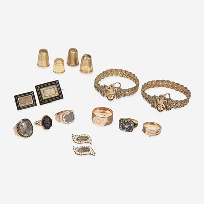 Lot 23 - A group of Mourning and Victorian jewelry and accessories