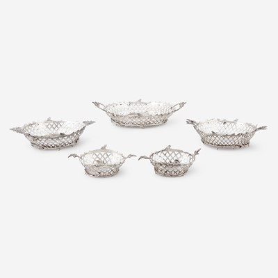 Lot 182 - A set of five Danish silver reticulated baskets