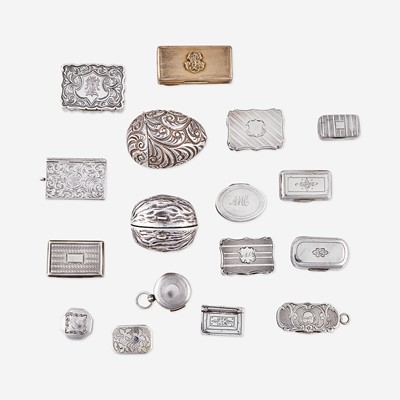 Lot 126 - A collection of seventeen George III and Victorian sterling silver vinaigrettes and nutmeg graters