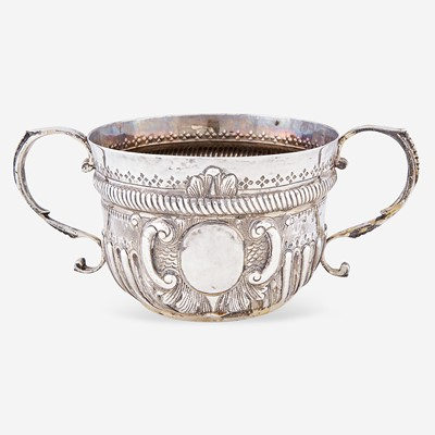 Lot 14 - A George II sterling silver twin-handled caudle cup