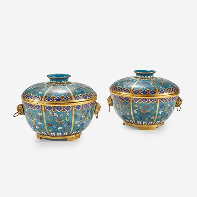 Lot 112 - A pair of Chinese cloisonné covered circular bowls