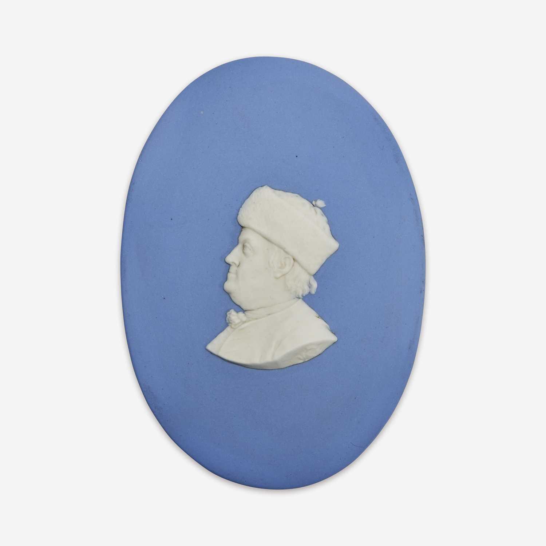 Lot 33 - A Wedgwood blue and white Jasperware portrait medallion of Benjamin Franklin (1706-1790)