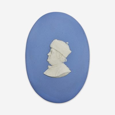 Lot 33 - A Wedgwood blue and white Jasperware portrait medallion of Benjamin Franklin (1706-1790)