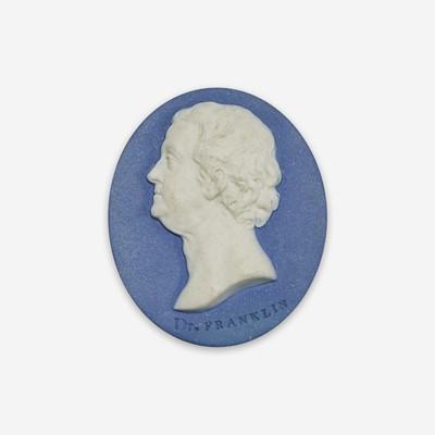Lot 35 - A Wedgwood & Bentley blue and white Jaspwerware portrait medallion of Benjamin Franklin (1706-1790)