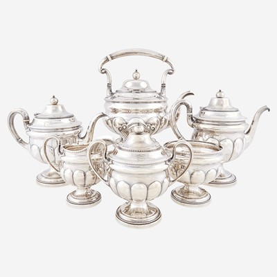 Lot 175 - A Classical six-piece sterling silver tea and coffee service