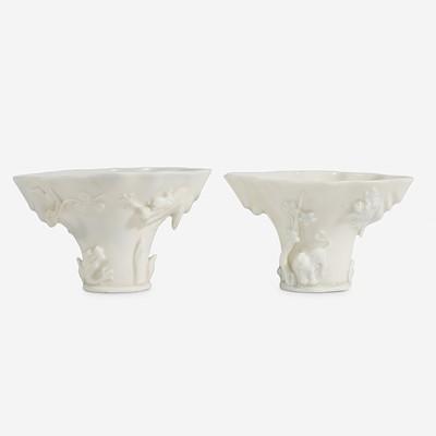 Lot 8 - Two similar Chinese Dehua porcelain libation cups 德化窑盃两件