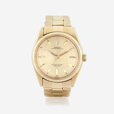 Lot 120 - An eighteen karat gold, automatic, bracelet wristwatch, Rolex