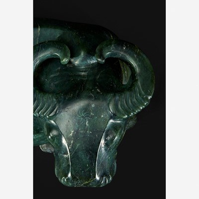 Lot 134 - A large Chinese spinach jade recumbent water buffalo 菠菜绿玉水牛
