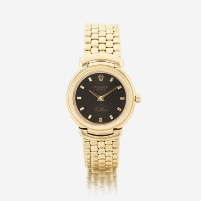 Lot 122 - An eighteen karat gold, bracelet wristwatch, Rolex