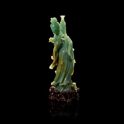 Lot 95 - A Chinese carved jadeite meiren