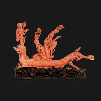 """Lot 94 - A Chinese carved coral """"Dragon, Boy, and Meiren"""" group"""
