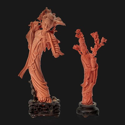 Lot 96 - Two Chinese carved coral meiren