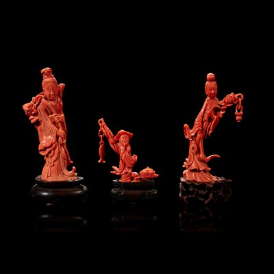 Lot 99 - Three Chinese carved coral figural groups, meiren and peach, man and basket, meiren and flower