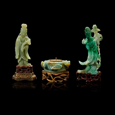 Lot 105 - A Chinese carved jadeite meiren, a carved celadon jade meiren, and a carved jadeite lotus pod-form inkwell