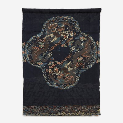 """Lot 83 - A large Chinese woven silk """"Dragon"""" panel for a robe"""