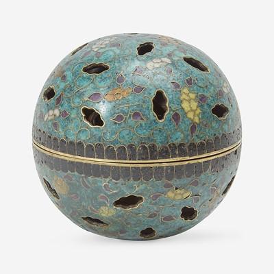Lot 128 - An unusual cloisonné gimbal-mechanism spherical incense burner