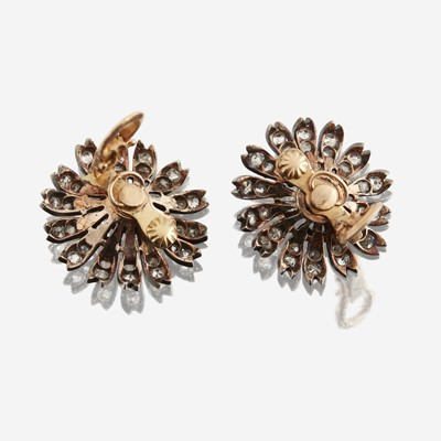 Lot 8 - A pair of antique diamond earrings