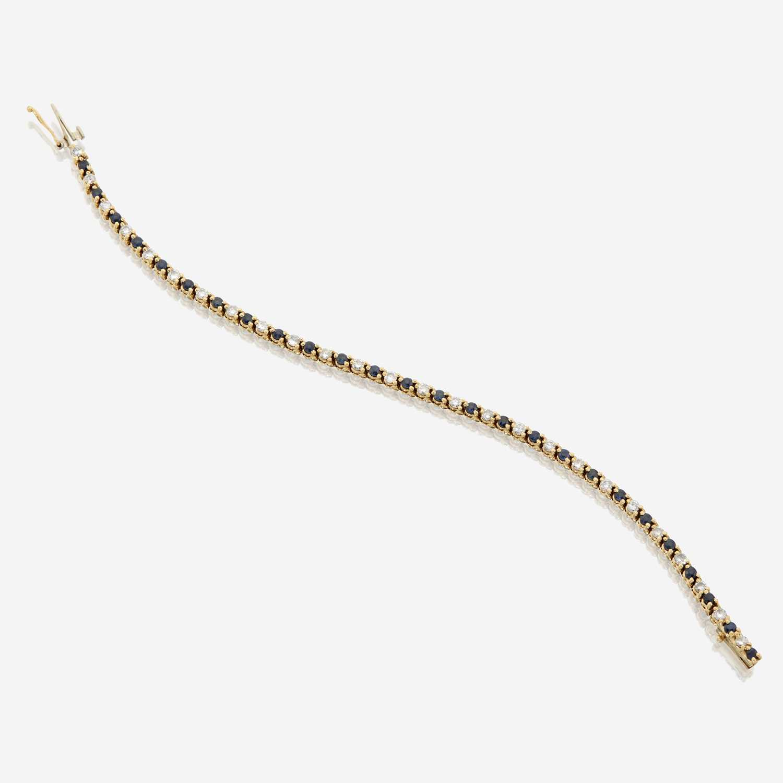Lot 38 - A sapphire, diamond, and eighteen karat gold bracelet