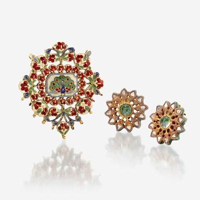Lot 3 - Jaipur enamel, high karat gold, and diamond pendant and ear clips
