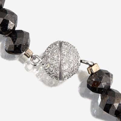 Lot 13 - A black diamond, diamond, and platinum necklace