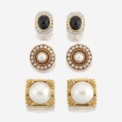 Lot 128 - A collection of three pairs of gold and gem-set earrings
