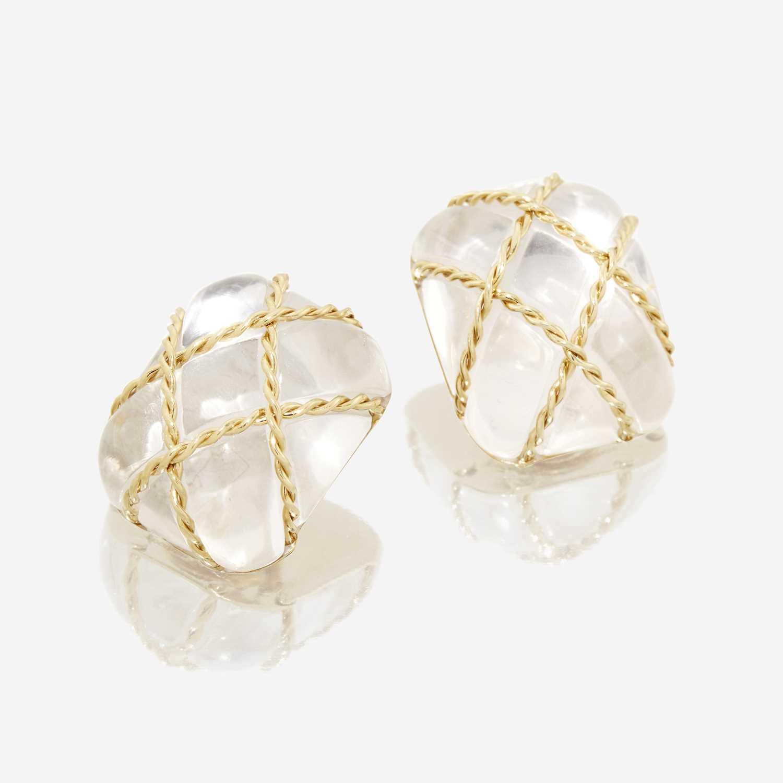 Lot 35 - A pair of rock crystal and eighteen karat gold earrings, Seaman Schepps