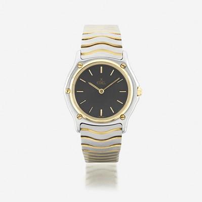 Lot 128 - A stainless steel and eighteen karat gold, bracelet wristwatch, Ebel