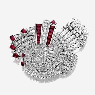 Lot 19 - A diamond, ruby, and platinum brooch