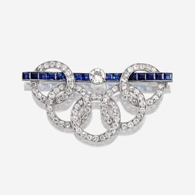 Lot 14 - A diamond and sapphire brooch
