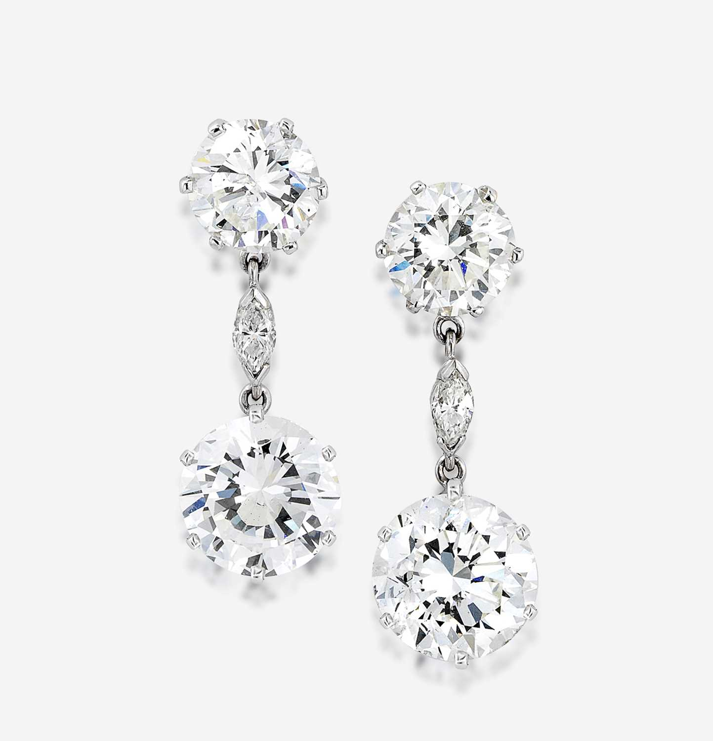 Lot 92 - A pair of diamond and eighteen karat white gold earrings