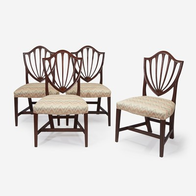 Lot 143 - A set of four Federal inlaid mahogany and satinwood shield-back side chairs