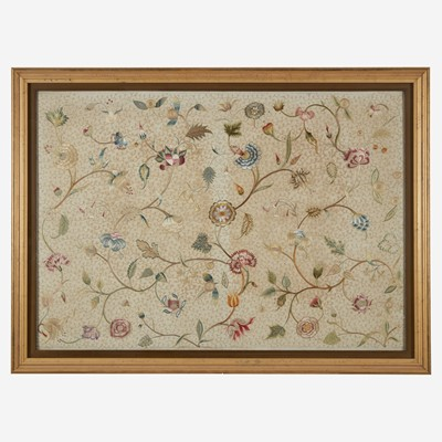 Lot 42 - An English embroidered silk panel