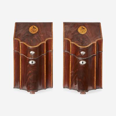 Lot 136 - A pair of Federal inlaid mahogany knife boxes
