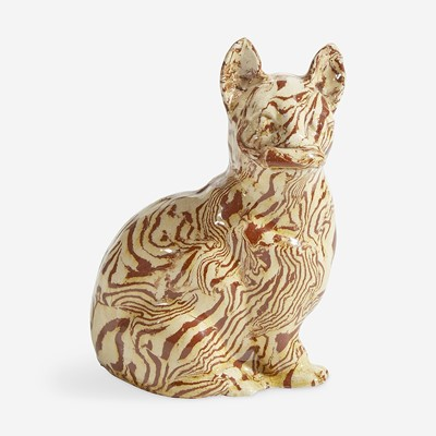 Lot 79 - A Staffordshire agateware figure of a cat with mouse