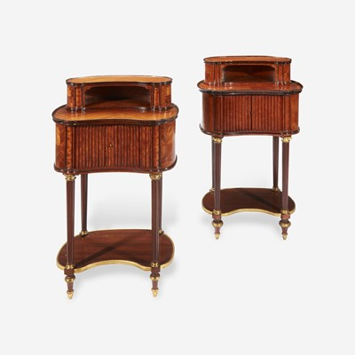 Lot 33 - A Pair of Louis XVI Style Gilt-Bronze Mounted Fruitwood and Mahogany Side Tables