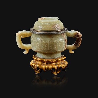 Lot 102 - A Chinese pale celadon and brown jade censer and cover, mounts by Edward I. Farmer, New York