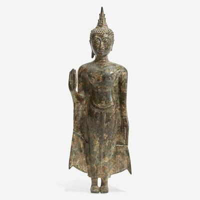 Lot 120 - A Thai gilt bronze standing Buddha