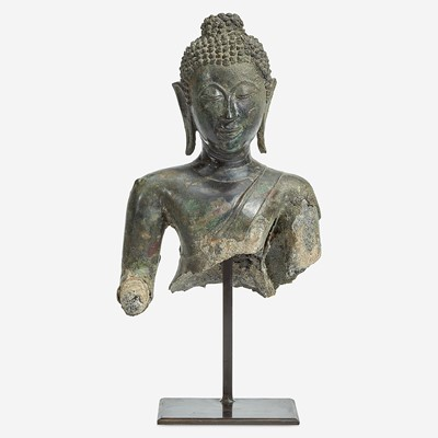 Lot 116 - A Thai bronze head and torso of a Buddha