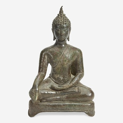Lot 117 - A Thai bronze seated Buddha