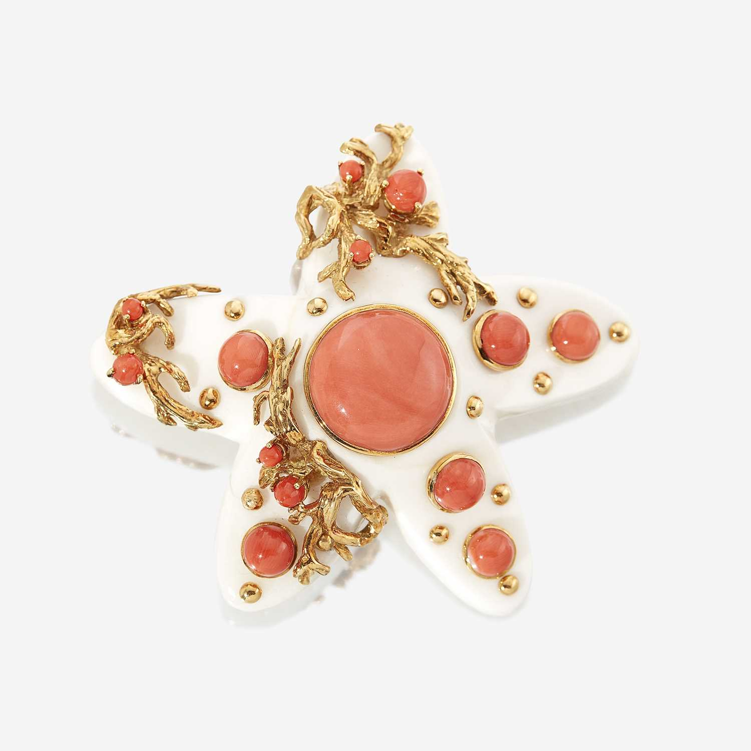 Lot 71 - A white and red coral and eighteen karat gold brooch, Seaman Schepps