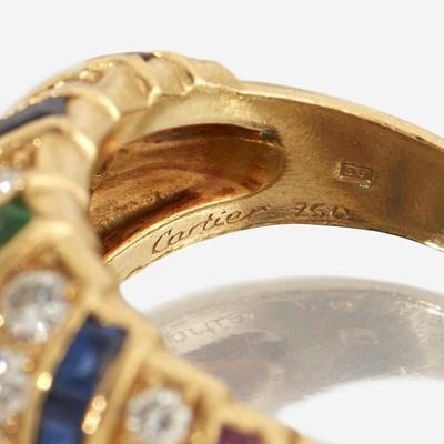 Lot 47 - A diamond, sapphire, emerald, ruby, and eighteen karat gold ring, Cartier