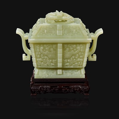 Lot 106 - A Chinese carved pale celadon jade censer and cover, Fang Ding