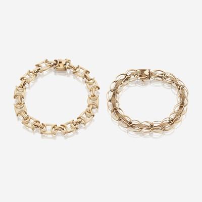 Lot 140 - Two fourteen karat gold bracelets