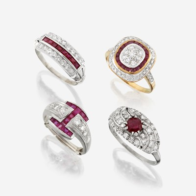 Lot 79 - A collection of four ruby and diamond rings