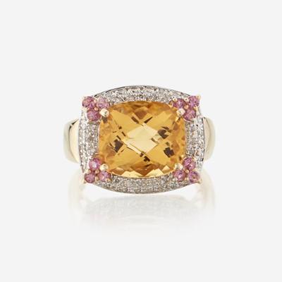 Lot 192 - A citrine, diamond, pink sapphire, and fourteen karat gold ring