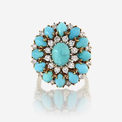 Lot 143 - A turquoise, diamond, and eighteen karat gold ring