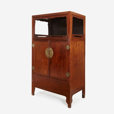 Lot 52 - A Chinese Huanghuali and hardwood display cabinet, Lianggegui