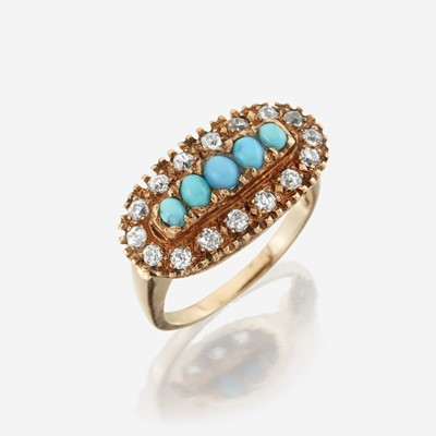 Lot 144 - A turquoise, diamond, and fourteen karat gold ring
