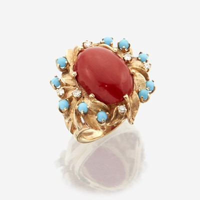 Lot 146 - A coral, diamond, and fourteen karat gold ring